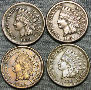 1859-1860-1862-1863-Copper-Nickel-Indian-Head-Cent-Penny-NICE-LOT-F126