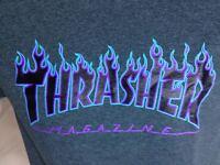 Thrasher Flame Brand Short Sleeve T-shirt Charcoal