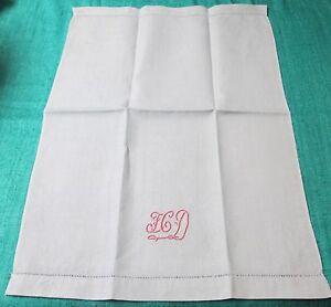 Antique 4 Blue Nubby Linen Towels Pink F C D Monogram Hemstitched Trousseau