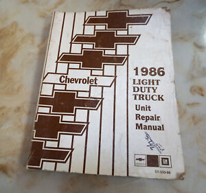 1986 Chevrolet Light Duty Truck Unit Repair  Shop Manual