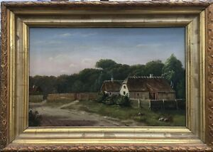 Painter-of-the-19-Century-AE-Monogram-1870-Denmark-Old-Houses-39-x-55