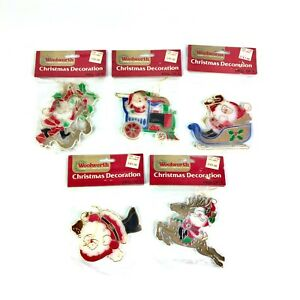 Vintage-Woolworth-Christmas-Tree-Ornaments-5-Piece-Santa-Stained-Glass-Look-New