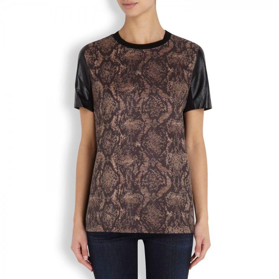 Cut25 Yigal Azrouel Snake Print schwarz Leather Shoulder Shirt Top M Medium