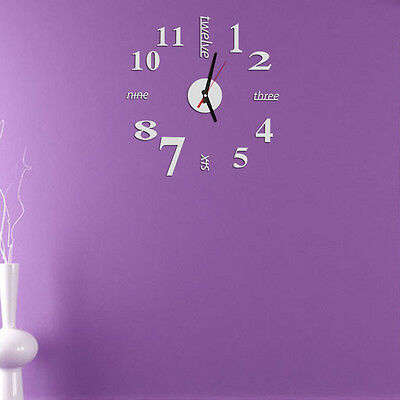 Mini Modern DIY Wall Clock 3D Sticker Design Home Office Room Decor