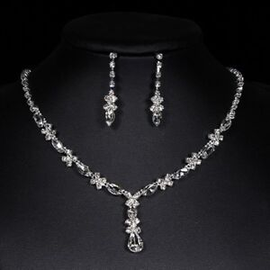 Silver-Diamante-Jewellery-Necklace-Earrings-Set-Wedding-Bride-Prom-Party-Jewelry