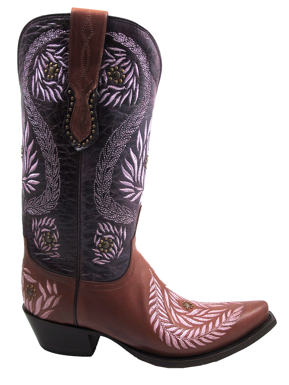 Women's Lucchese 1883 M4836.S54 Ornamental Laurel Leaf Cognac/Purple Cowgirl Boo