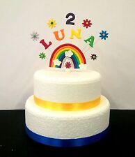 Personalizzato ogni nome e età Arcobaleno,Compleanno/Battesimo Topper Per Torta