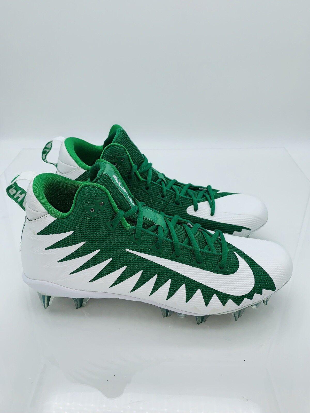NIKE Men's Alpha Menace Pro Mid TD Football Cleats White  Green 12US 46EUR