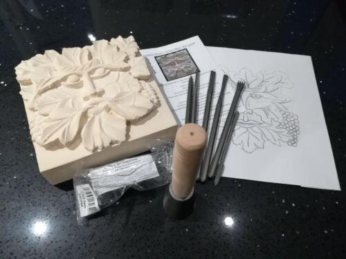 11 piece Full Set Stone Carving /'Green Man/'  Kit