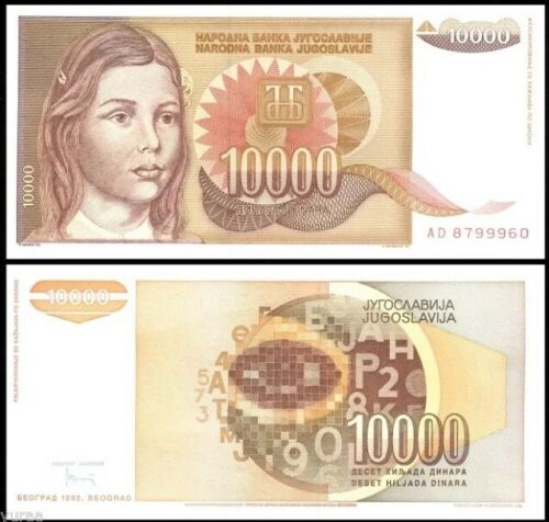 Dinara P-116a World Currency 10,000 Hyperinflation 1992 YUGOSLAVIA 10000