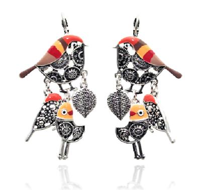 Boucles d/'Oreilles Oiseau /& Gland Lolilota Rouge Argenté Lol Bijoux