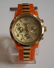 Women's orange & gold finish fashion boyfriend sport watch