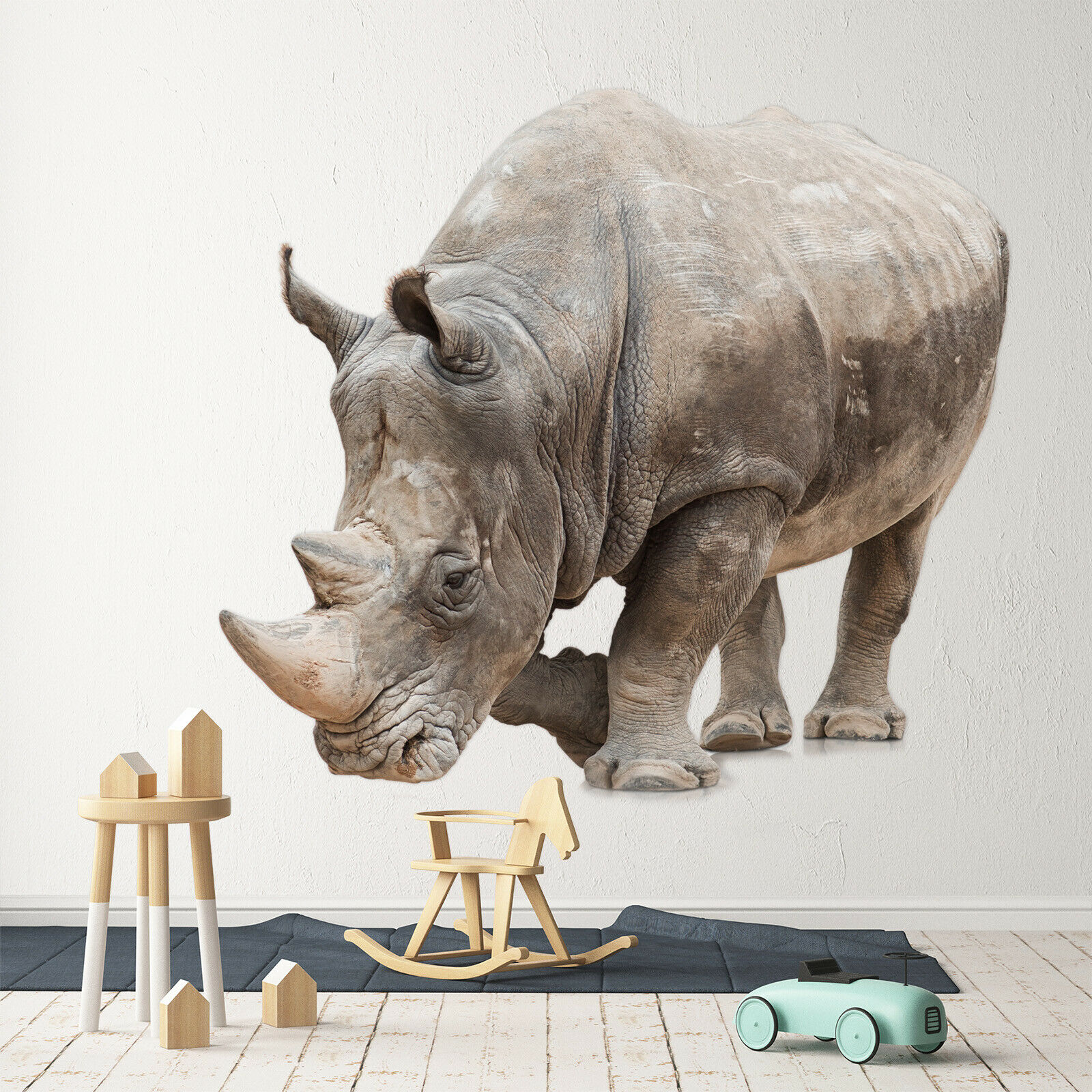 3D Rhinoceros G027 Animal Wallpaper Mural Poster Wall Stickers Decal Wendy