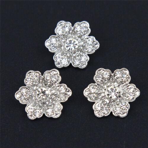 NEU 6 Stück Strass Knöpfe Strass Blume Silber Glitter Knopf Elegant Knöpfe Decor