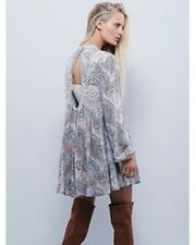 Free People tan blue gray lace trim Sweet Thing Swing Tunic Dress S Tea  Combo