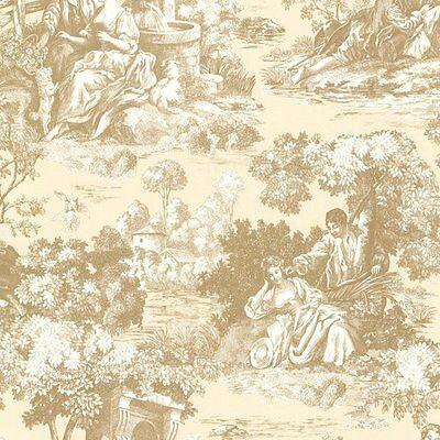 Victorian Vintage Isabella Gold Creme Tan Toile Wallpaper Designer Wallcoverings