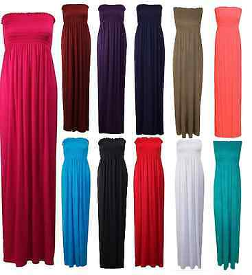 Womens Strapless Summer Maxi Dress Ladies Long Jersey Dress Print Plus Size 8-26
