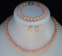 New 7-8mm Pink FW pearl necklace&bracelet&earring set