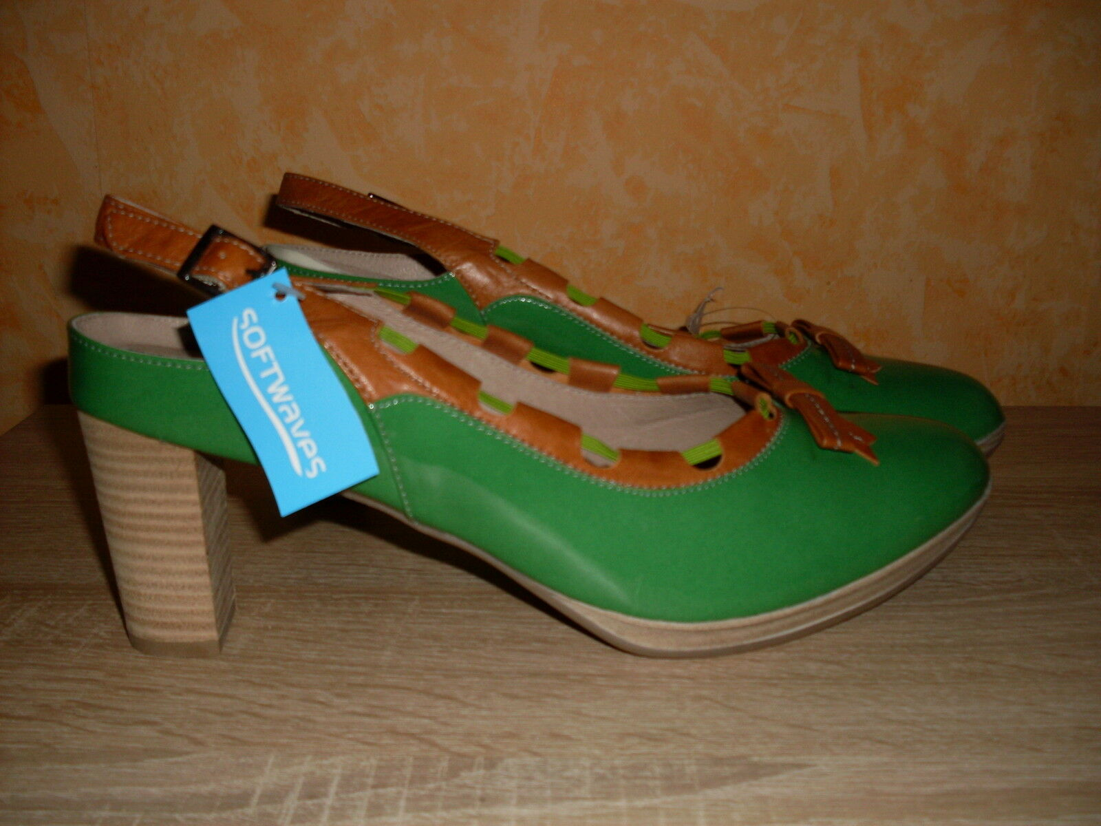 Softwaves Slingback NEU Gr. 45 in Lackleder grün / braun kombinertem Lackleder in II. WAHL 3b25b0