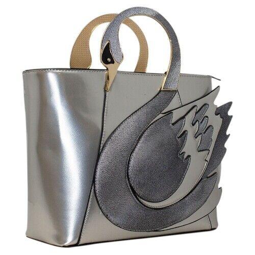 Ladies Stunning Swan Detail Glossy Tote Bag Women Shoulder Cross Body Handbag