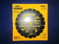 Dewalt Dw3174 7-1/4 20 Tooth Carbide Wet Lumber Circular Saw Blade