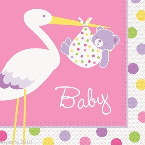 Pink Stork Baby Shower Luncheon Napkins 16pk Ebay