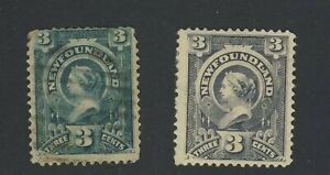 2x-Newfoundland-Mint-Stamps-60c-3c-Used-60d-MH-Th-3c-Queen-Victoria-GV-40-00