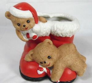 Santa Boots With Teddy1988 House Of Lloyd Santa Boots With Teddy Bears Planter