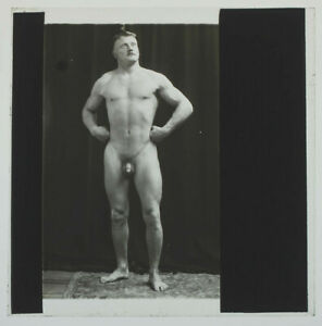 RARE-Original-1920s-male-nude-athlete-glass-positive