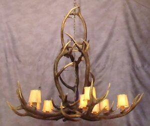 Real antler elk yellowstone chandelier 9 lights lamp deer lighting image is loading real antler elk yellowstone chandelier 9 lights lamp aloadofball Image collections