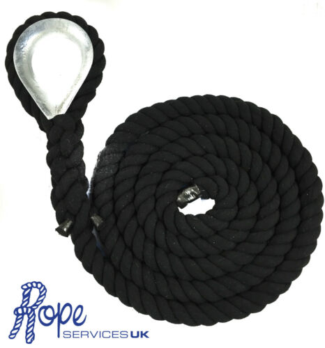 24mm Black Natural Cotton Gym Climbing Rope x 14 Metres With Galvanised Eye