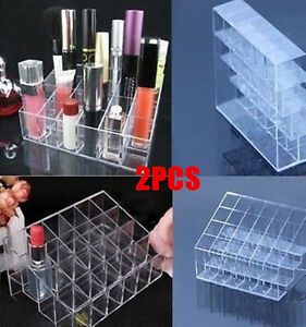 2X-clear-Lipstick-Makeup-Stand-Display-Trapezoid-Holder-Case-Cosmetic-Organizer
