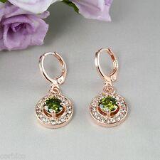 E3 Wedding Bridal Prom 18k Rose Oro Plateado Verde Zirconia Cristales pendientes