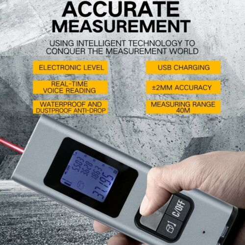 LCD Digital Laser Range Finder 40M Distance Meter IP54 Waterproof Handheld