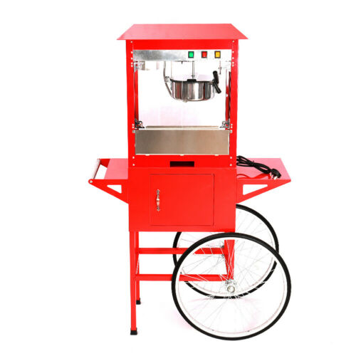 Red Retro Popcorn Maker Cart Christmas Party Electric Popcorn Making Machine