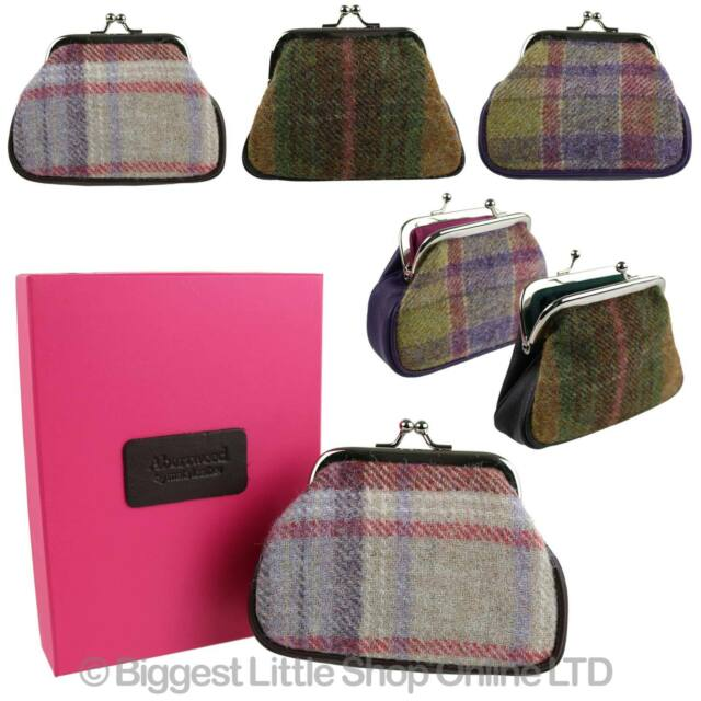 NEW Ladies LEATHER & Tweed Clip Top Coin PURSE by Mala; Abertweed Collection