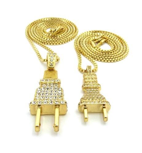 "Iced Out Electric Power Plug Pendant 24/"",30/"" Box Chain Hip Hop 2 Necklace Set"