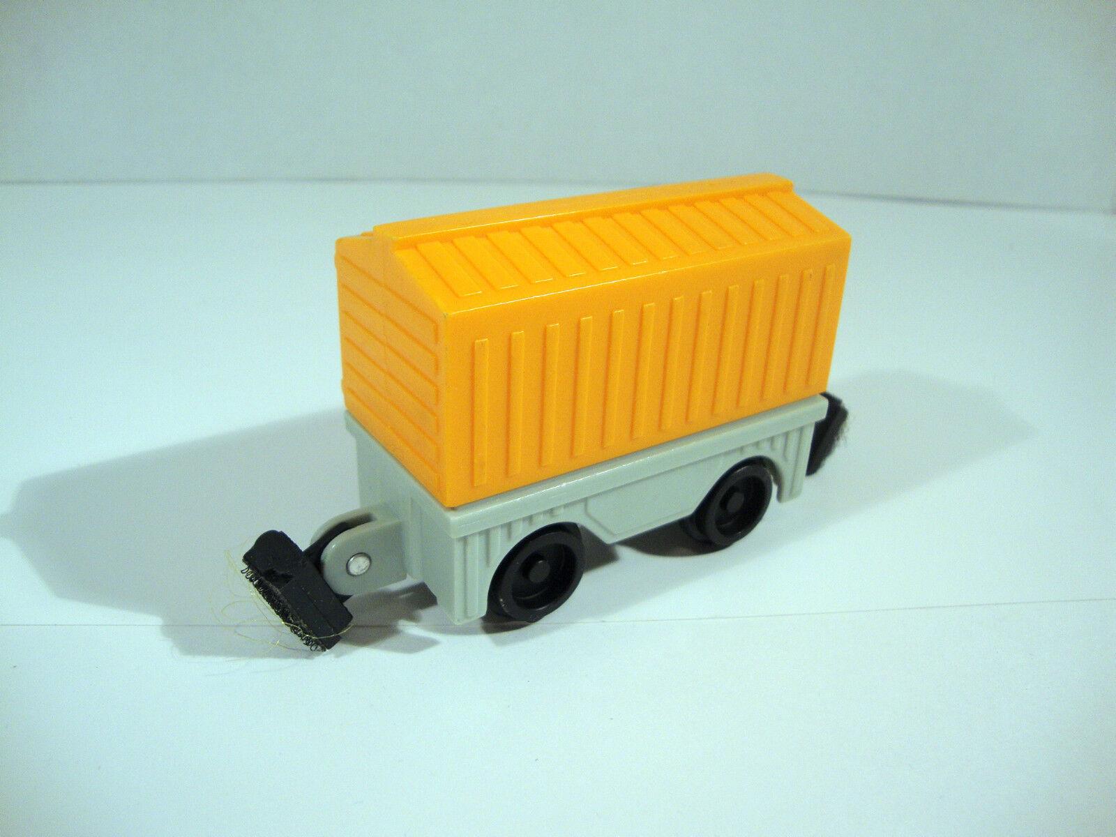 Rare Fisher Price 1989 orange Train Cargo Cart Kid Powered Working Toy Model