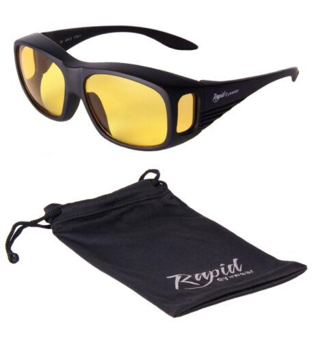 NACHTBRILLE ZUM AUTOFAHREN Sonnenüberbrille Brille über die brille gelb Linsen