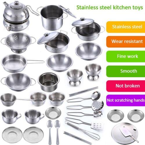 Childrens Toy Metal Kitchen Cooking Utensils Pots Pans Accessories Set Kids Play