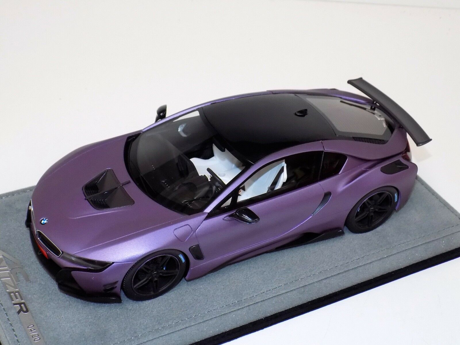 1 18 AB Models BMW I8 AC Schnitzer in MattePurple Limited 30 pcs  Alcantara Base