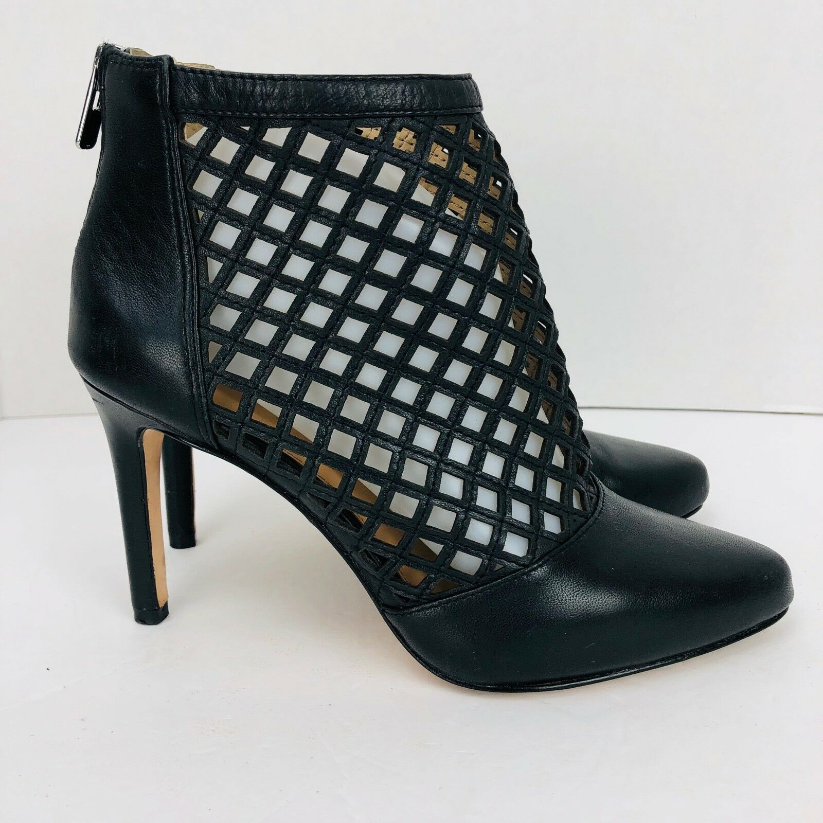 Antonio Melanie Black Cut Out Leather Ankle Bootie Stiletto Heel Zip Pump