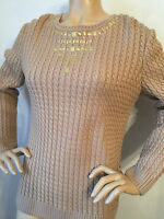 St John Knit Size M Womens Sweater Sable Cable Knit Jewels