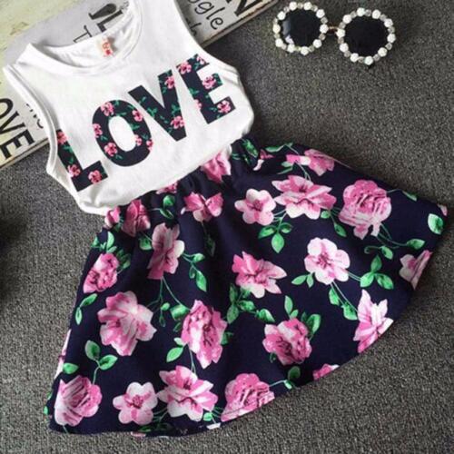 2PCs Children Kids Girls Clothes Sets Print Sleeveless Top Floral Skirts Suits
