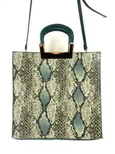 NEIMAN-MARCUS-Large-Green-Leather-Cross-Body-Boxy-Tote-Handbag-Near-Mint