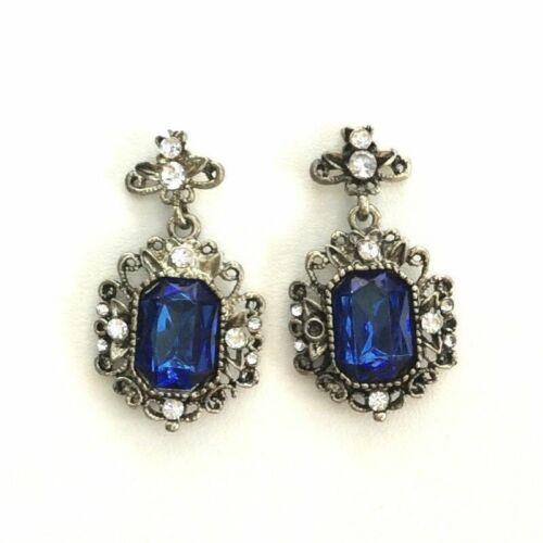 Bronze Antique Style Dangling Blue Crystal Earrings