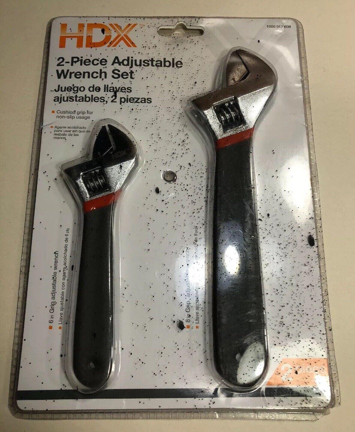 2 Piece HDX Adjustable Wrench Set 6  & 8  Non-Slip Handles (new)