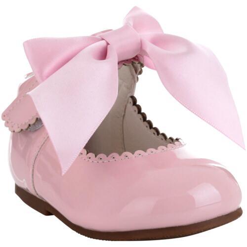 Girls Bridesmaids Bow Ribbon Party Shoes Patent Shoes Infant Sizes UK 1,3,5,7,10