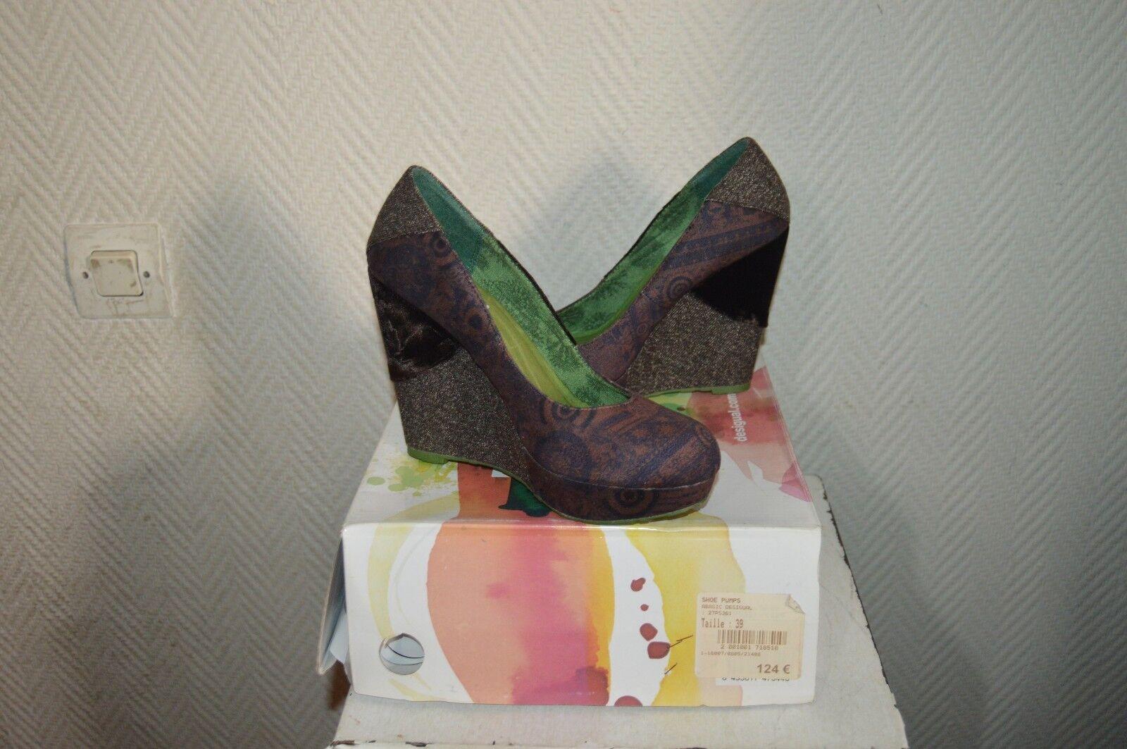 CHAUSSURE ESCARPIN COMPENSE DESIGUÄL  39 / UK 6 NEUF CUIR  Schuhe/SCAPA/ZAPATOS
