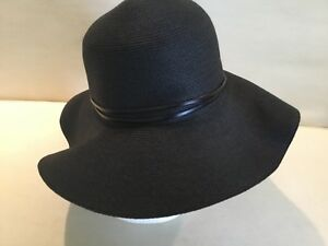 78963b0f3 Details about Filippo Catarzi Black. Made in Florence Italy Hat Wide Brim  Paper